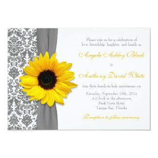 Sunflower Yellow Pewter Grey White Damask Wedding 5x7 Paper Invitation Card