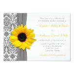 Sunflower Yellow Pewter Grey White Damask Wedding Card