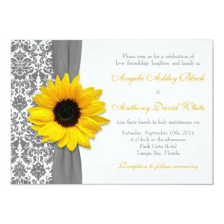 Sunflower Yellow Pewter Grey White Damask Wedding Card