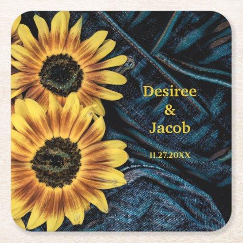 Sunflower Yellow Rustic Blue Denim Jeans Wedding Square Paper Coaster