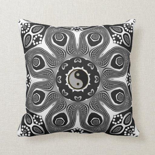 Sunflower YinYang Modern Tribal Art Cushion