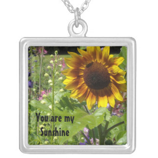 Sunflower - You are my Sunshine Square Pendant Necklace