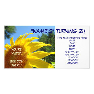 Sunflower You're Invited! invitations Turning 21 Photo Card
