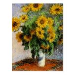 Sunflowers, 1881 by Monet. Postcard
