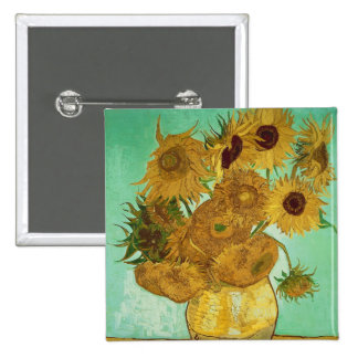Sunflowers, 1888 2 inch square button
