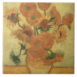 Sunflowers, 1889 (oil on canvas) large square tile