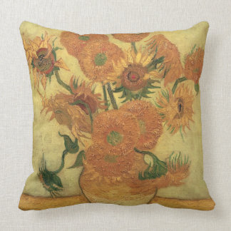 Sunflowers, 1889 (oil on canvas) throw pillow