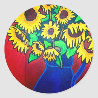 Sunflowers 96 by Piliero Classic Round Sticker