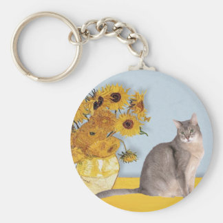 Sunflowers - Abyssinian (blue 21) Keychain
