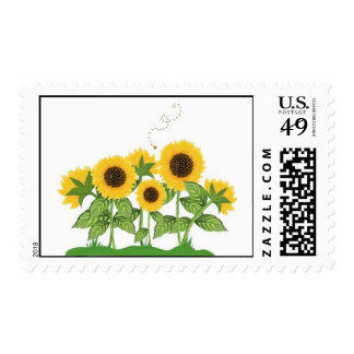 Sunflowers and a Bee Postage