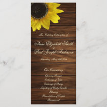 Sunflowers and barn wood Wedding Program