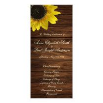 Sunflowers and barn wood Wedding Program