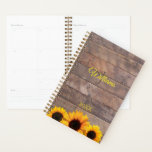 """Sunflowers and Barnwood Personalized Monogram Day Planner<br><div class=""""desc"""">Begin each day with rustic sunflowers on this Day Planner featuring Barnwood and Sunflowers which can be personalized with ANY name and initial. Add a year or other text,  or delete to leave blank.</div>"""