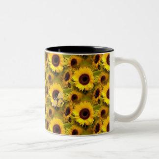 sunflowers and bees mug