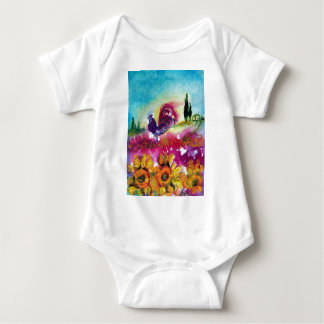 SUNFLOWERS AND BLACK ROOSTER BABY BODYSUIT