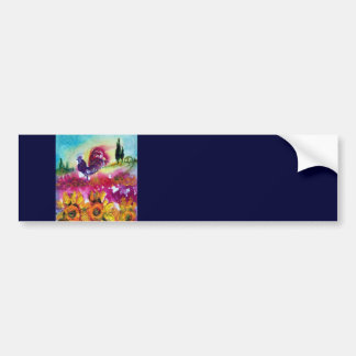 SUNFLOWERS AND BLACK ROOSTER CAR BUMPER STICKER