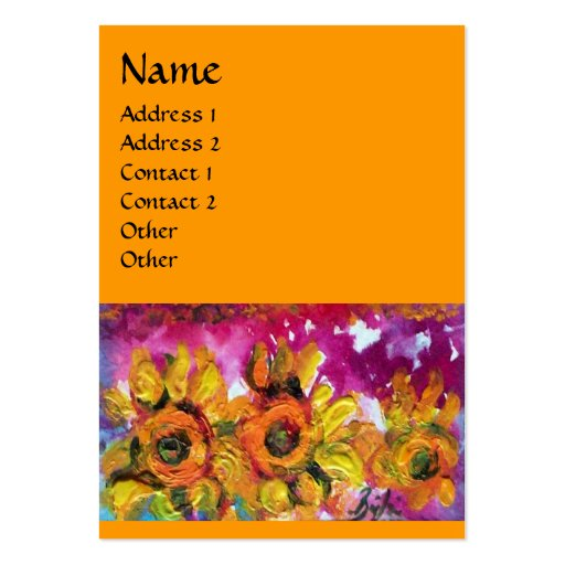 SUNFLOWERS AND BLACK ROOSTER BUSINESS CARDS