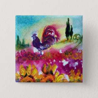 SUNFLOWERS AND BLACK ROOSTER BUTTON