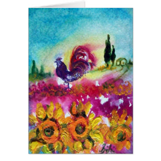 SUNFLOWERS AND BLACK ROOSTER CARD