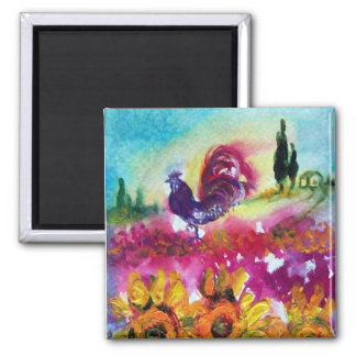 SUNFLOWERS AND BLACK ROOSTER MAGNET