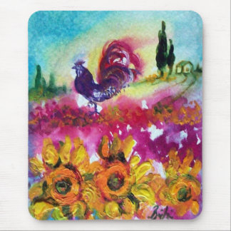 SUNFLOWERS AND BLACK ROOSTER MOUSE PAD
