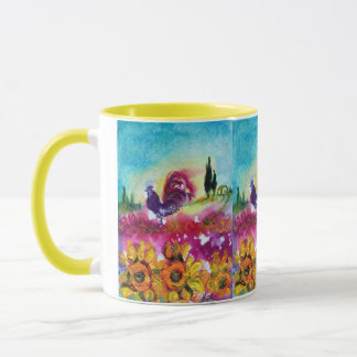 SUNFLOWERS AND BLACK ROOSTER MUG