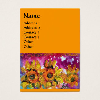 SUNFLOWERS AND BLACK ROOSTER, Orange Yellow Business Card