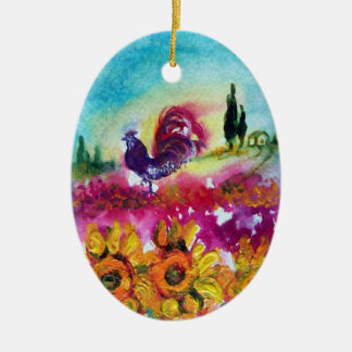 SUNFLOWERS AND BLACK ROOSTER ORNAMENT