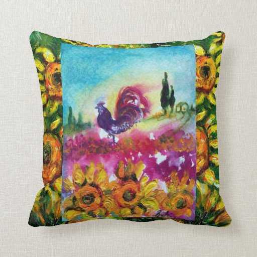 Black Rooster Throw Pillows : SUNFLOWERS AND BLACK ROOSTER PILLOWS Zazzle