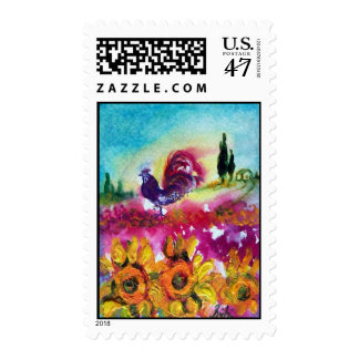 SUNFLOWERS AND BLACK ROOSTER POSTAGE