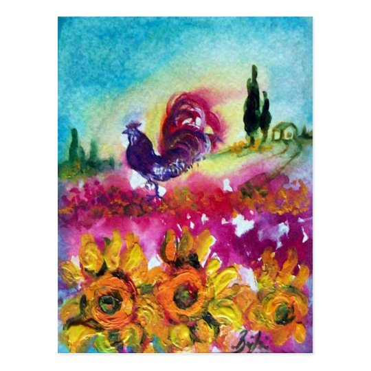 SUNFLOWERS AND BLACK ROOSTER POSTCARD