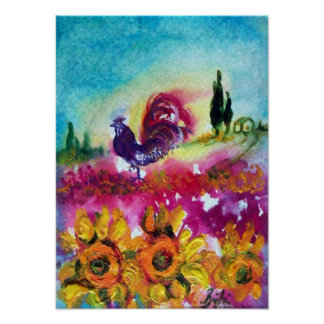 SUNFLOWERS AND BLACK ROOSTER POSTER