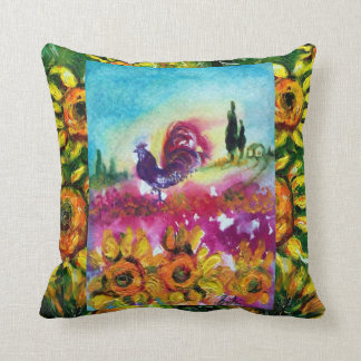 SUNFLOWERS AND BLACK ROOSTER THROW PILLOW