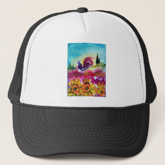 SUNFLOWERS AND BLACK ROOSTER TRUCKER HAT