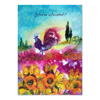 SUNFLOWERS AND BLACK ROOSTER ,yellow red purple Card