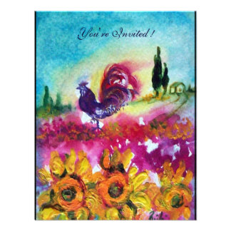 SUNFLOWERS AND BLACK ROOSTER yellow red purple Custom Invitation