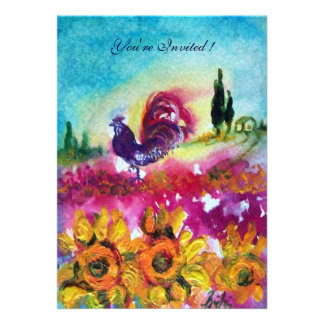 SUNFLOWERS AND BLACK ROOSTER yellow red purple Personalized Invites