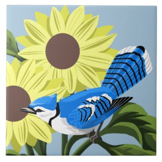 Sunflowers and Blue Jay Tile