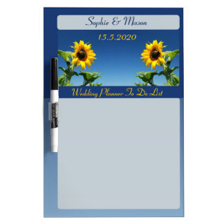 Sunflowers and Blue Sky Wedding Planner Board Dry Erase White Board