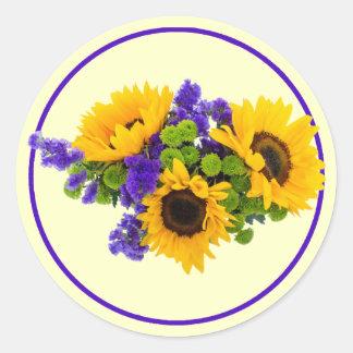 Sunflowers and Blue Statice Round Sticker