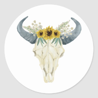 Sunflowers and Bull Skull Wedding Sticker