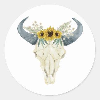 Sunflowers and Bull Skull Wedding Sticker