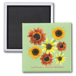 Sunflowers and Bumblebees Your Text Magnets