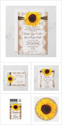 Sunflowers and Burlap Wedding Invitation Set