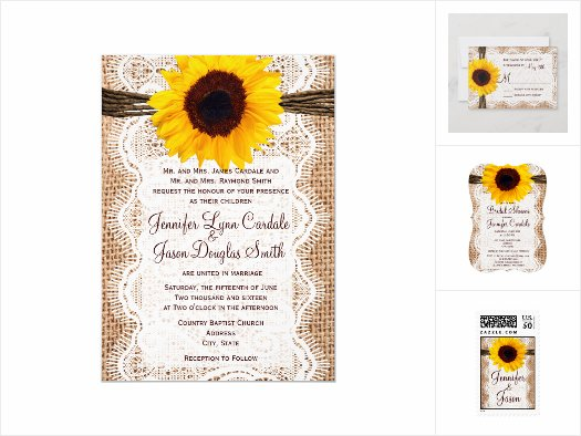 Sunflowers and Burlap Wedding Invitation Set