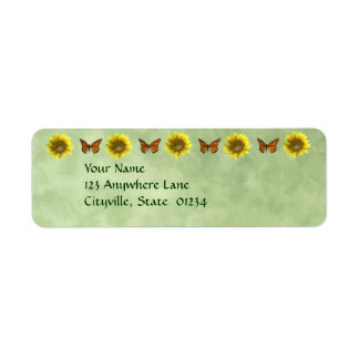 Sunflowers and Butterflies Label