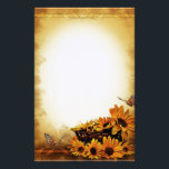 """Sunflowers and Butterflies Stationery<br><div class=""""desc"""">Sunflowers and Butterflies The paper you write on can say just as much as the words written on it,  so make your notes stand out with stationery for your home and office. Choose from 5 different paper types and write letters and business correspondence that will make everyone take notice!</div>"""