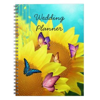 Sunflowers and Butterflies Wedding Planner Notebook