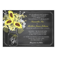 Sunflowers and Chalkboard Wedding Invitation Card 5&quot; X 7&quot; Invitation Card (<em>$2.27</em>)