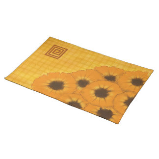 Sunflowers and Cheerful Yellow Plaid Placemat